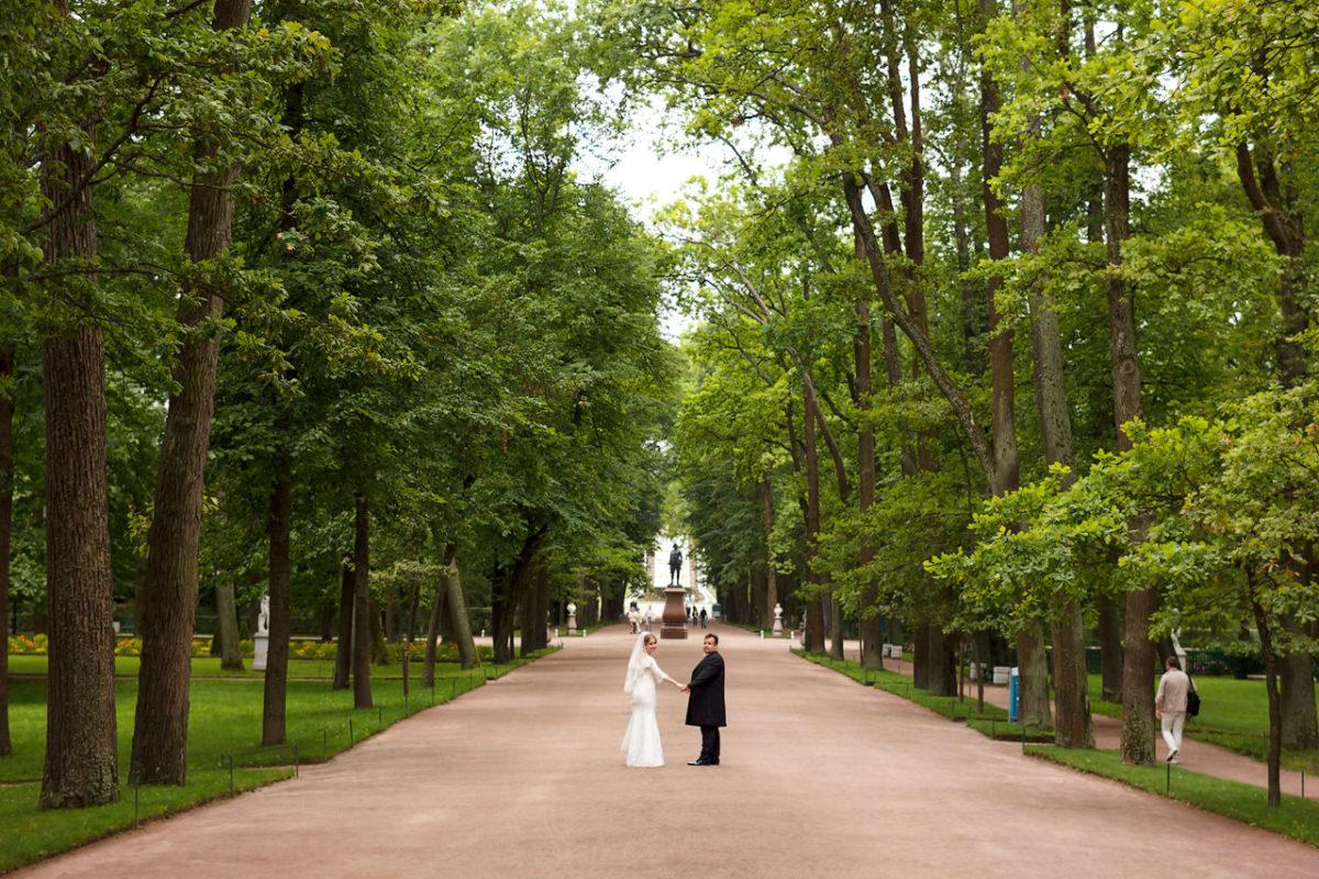 парк Петергофа свадьба